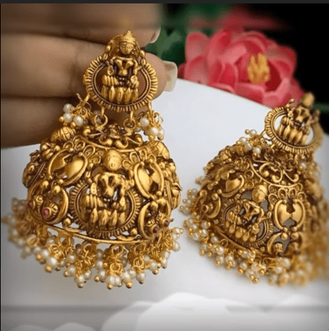 Latest beautiful antique gold jhumka designs 11