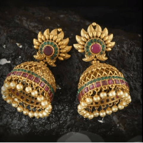 Latest beautiful antique gold jhumka designs 12