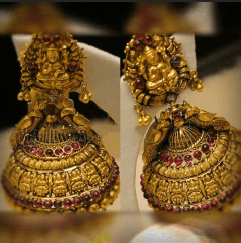 Latest beautiful antique gold jhumka designs 13