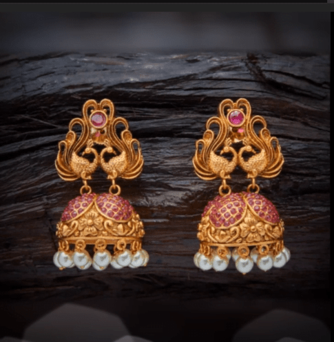 Latest beautiful antique gold jhumka designs 14