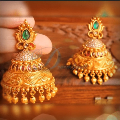 Latest beautiful antique gold jhumka designs 15