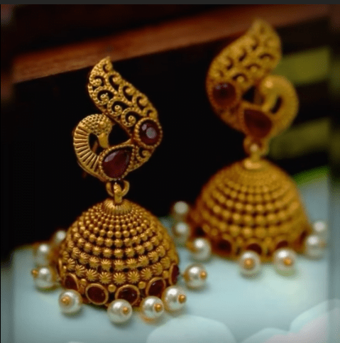 Latest beautiful antique gold jhumka designs 16