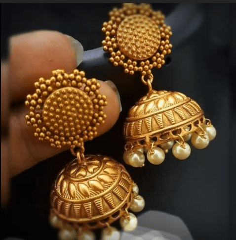 Latest beautiful antique gold jhumka designs 17