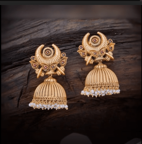 Latest beautiful antique gold jhumka designs 20