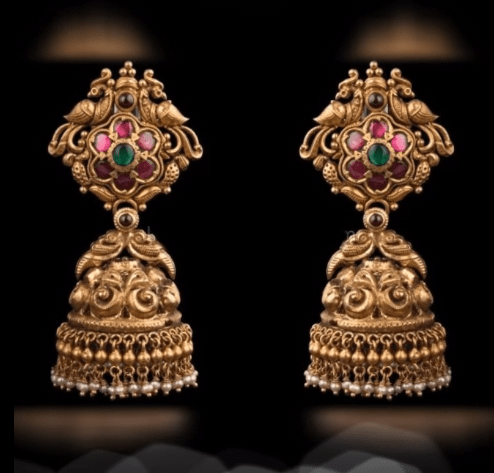 Latest beautiful antique gold jhumka designs 21