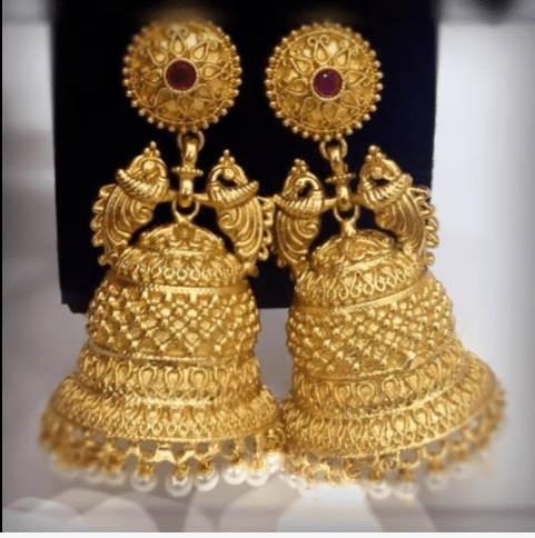 Latest beautiful antique gold jhumka designs 22