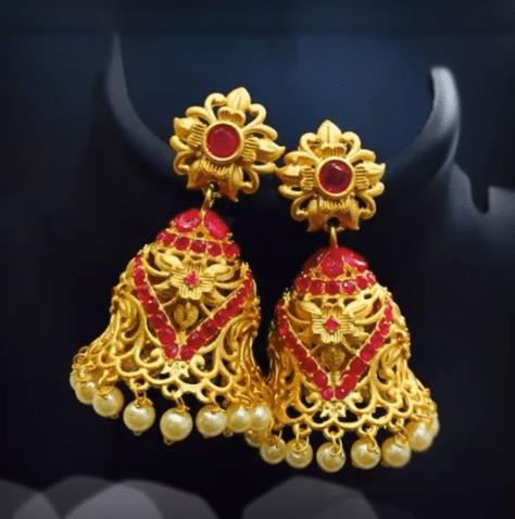 Latest beautiful antique gold jhumka designs 23