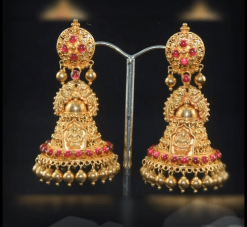 Latest beautiful antique gold jhumka designs 24