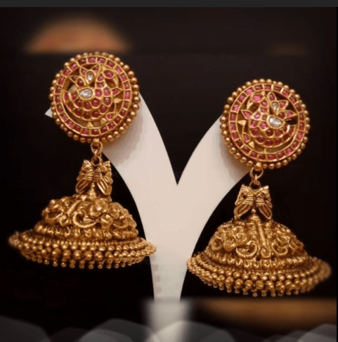 Latest beautiful antique gold jhumka designs 25