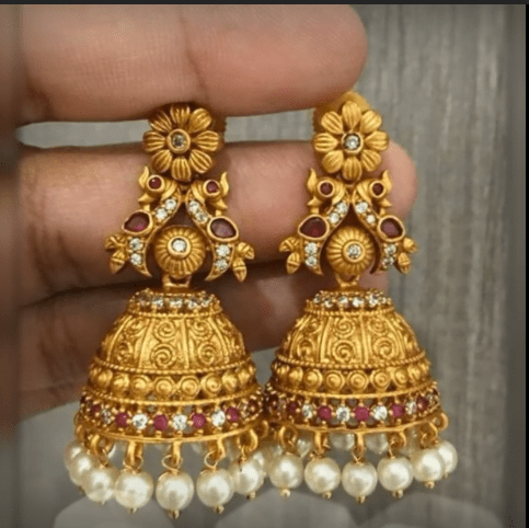 Latest beautiful antique gold jhumka designs 3