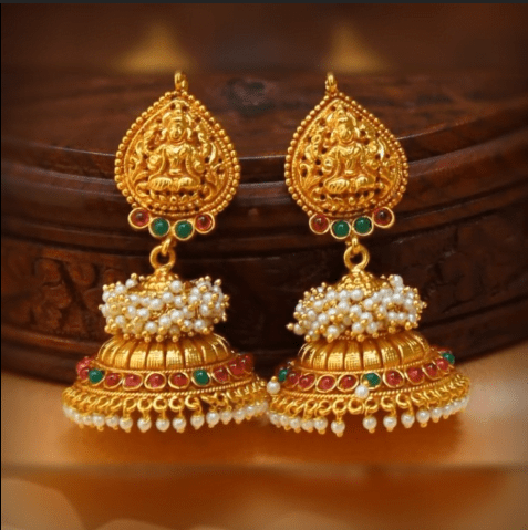 Latest beautiful antique gold jhumka designs 4