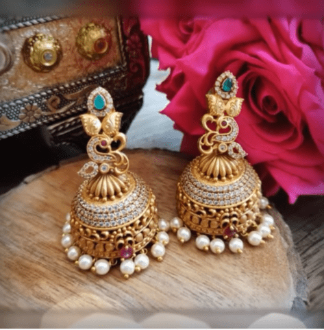 Latest beautiful antique gold jhumka designs 5