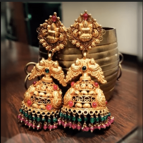 Latest beautiful antique gold jhumka designs 9