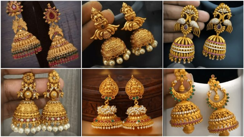 Latest beautiful antique gold jhumka designs