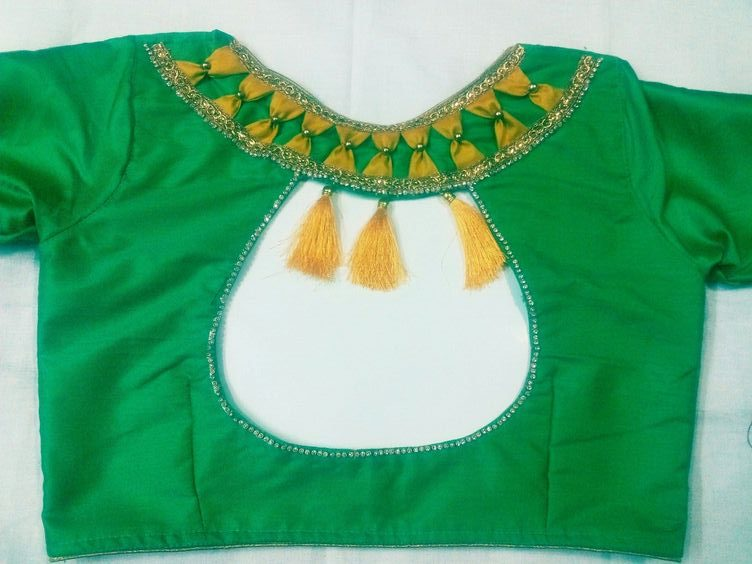 green trendy neck design with attachments