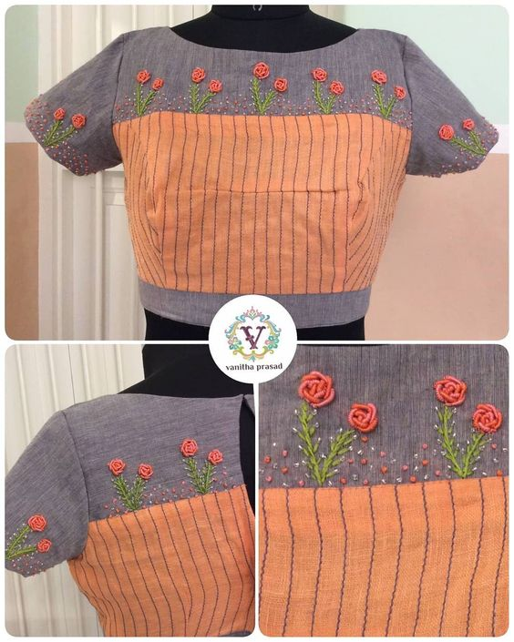 designer blouse with hand embroidery