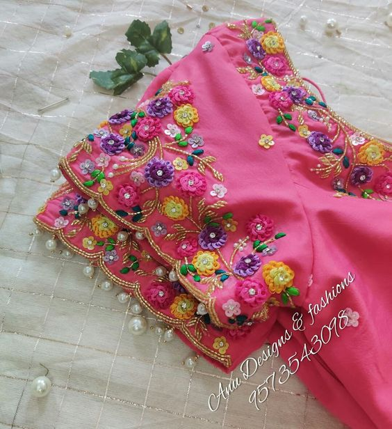 rose hand work blouse with white pearls