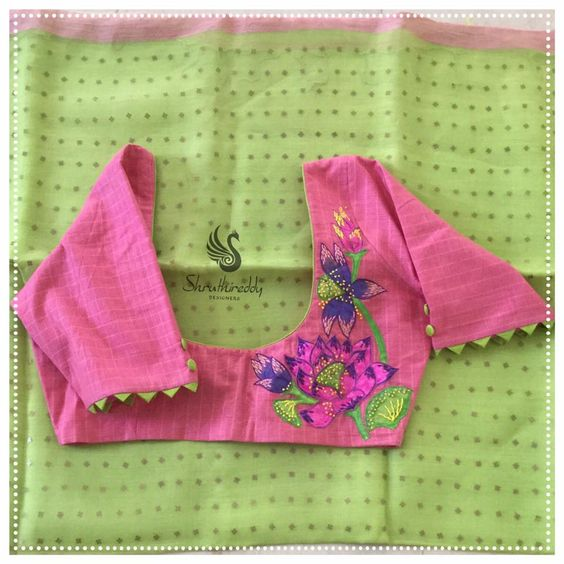 pink floral blouse design