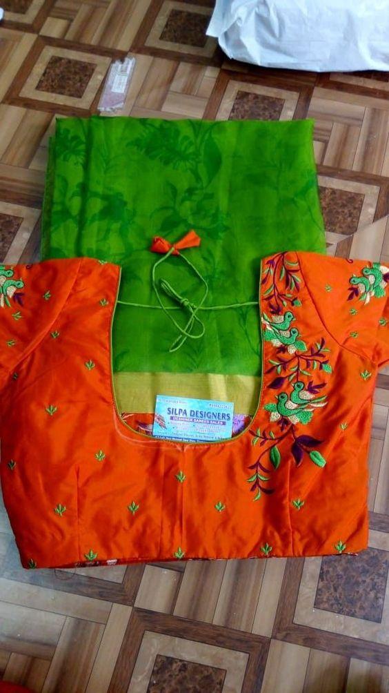 orange blouse with green saree