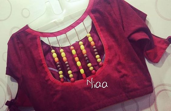 trendy back neck designer blouse