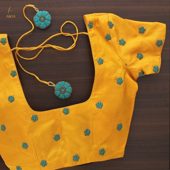 yellow hand embroidery blouse