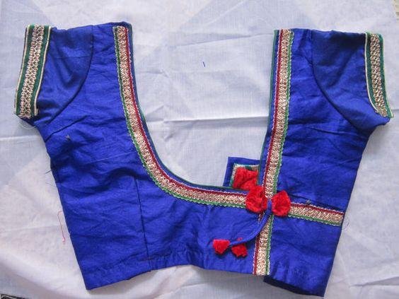 simple blue color blouse design