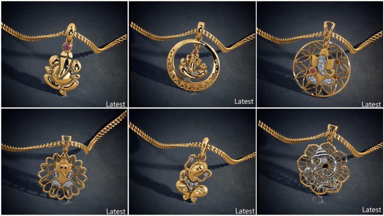 Latest gold lord ganesha pendant designs