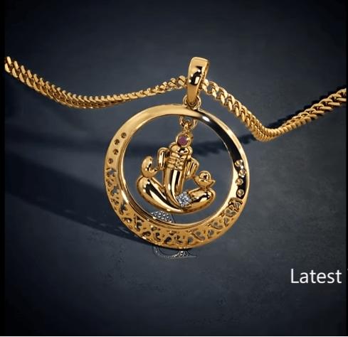 Latest gold lord ganesha pendant designs 10