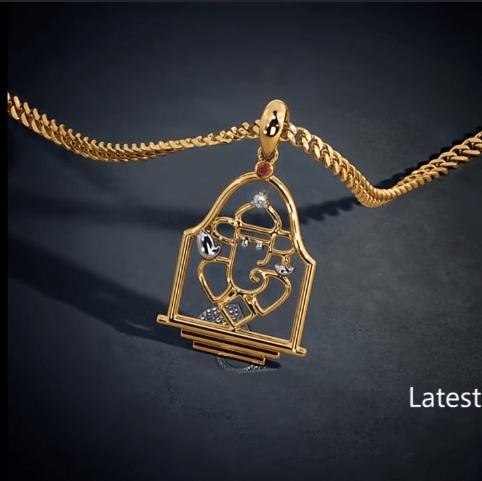 Latest gold lord ganesha pendant designs 11