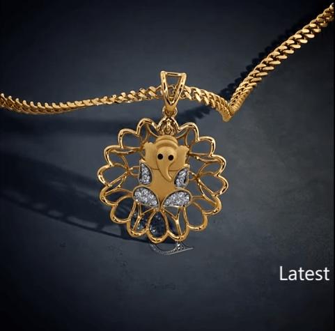 Latest gold lord ganesha pendant designs 2