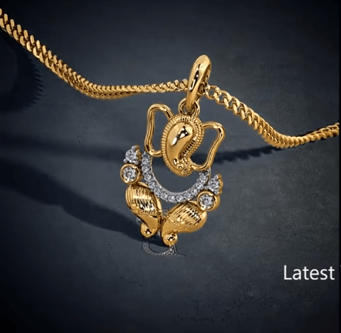 Latest gold lord ganesha pendant designs 5