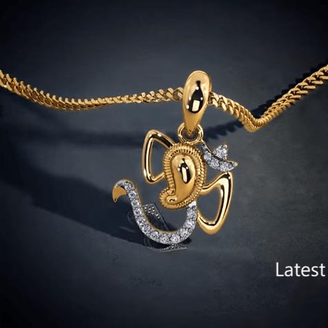 Latest gold lord ganesha pendant designs 7