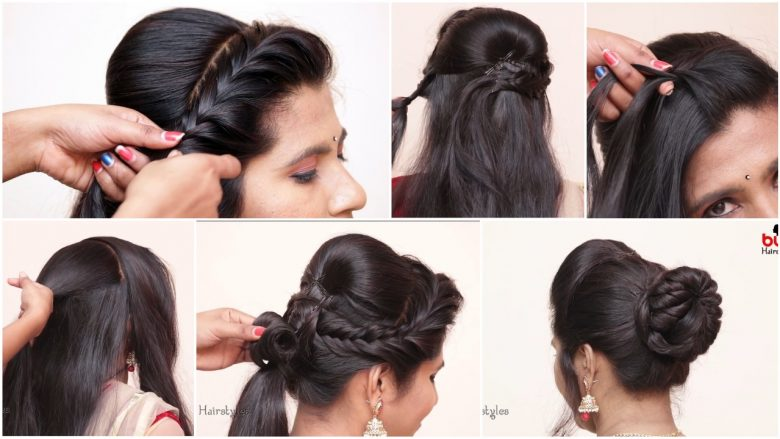 Messy bun with front puff hairstyle