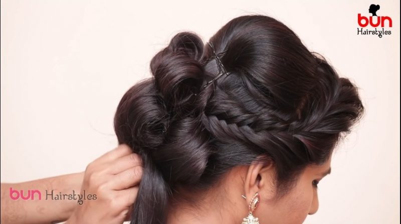 Messy bun with front puff hairstyle 10