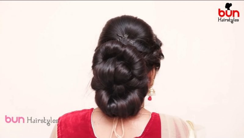 Messy bun with front puff hairstyle 12