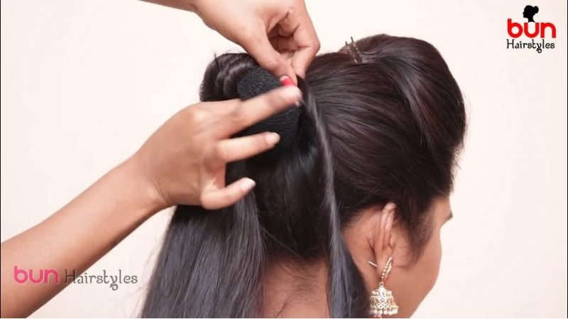 Messy bun with front puff hairstyle 14