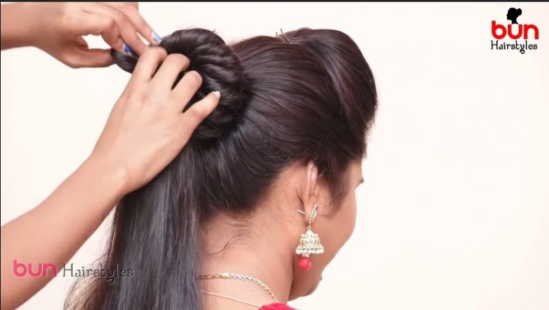 Messy bun with front puff hairstyle 15