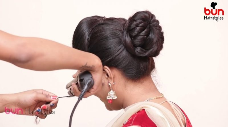 Messy bun with front puff hairstyle 16