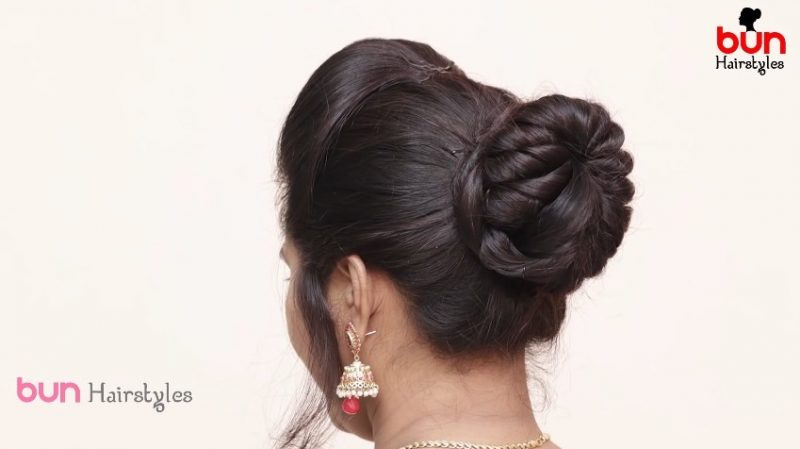 Messy bun with front puff hairstyle19