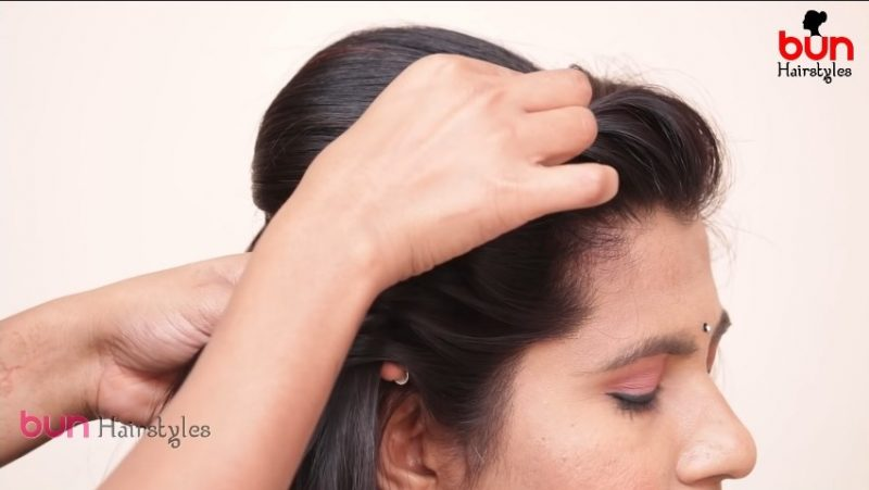 Messy bun with front puff hairstyle 5