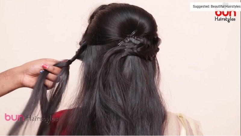 Messy bun with front puff hairstyle 6