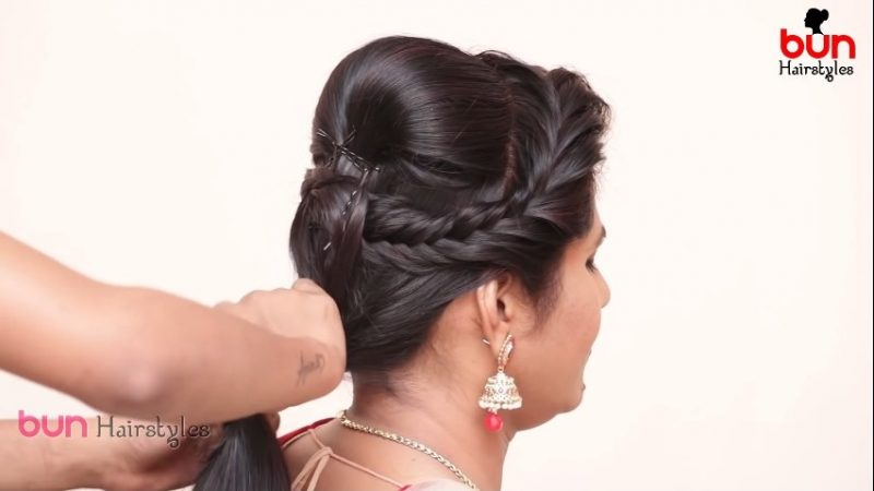 Messy bun with front puff hairstyle 7