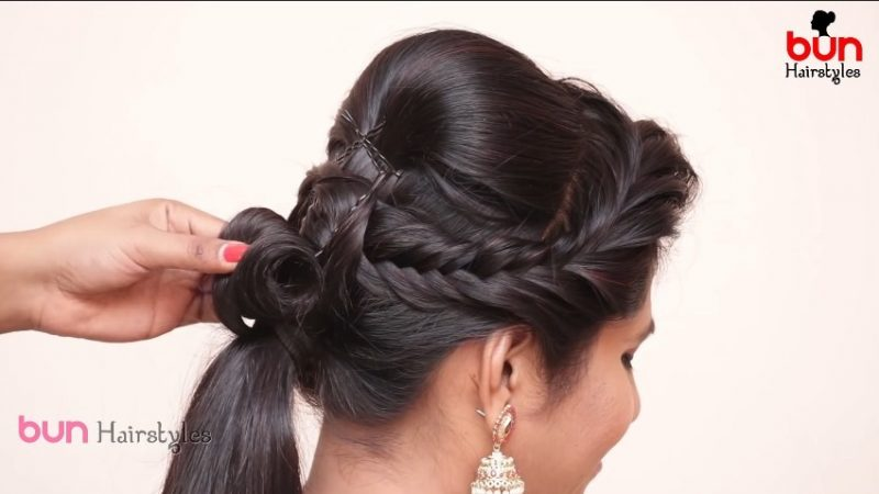 Messy bun with front puff hairstyle 8