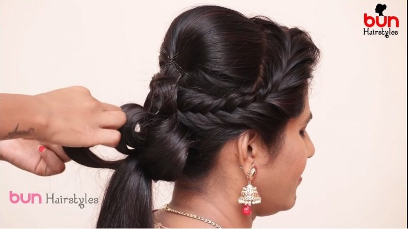 Messy bun with front puff hairstyle 9