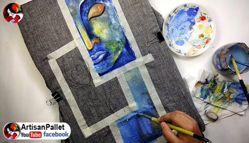 using acrylic blue paint1