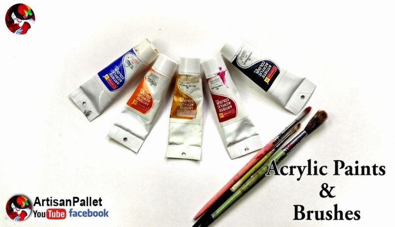 acrylic paints and brushes