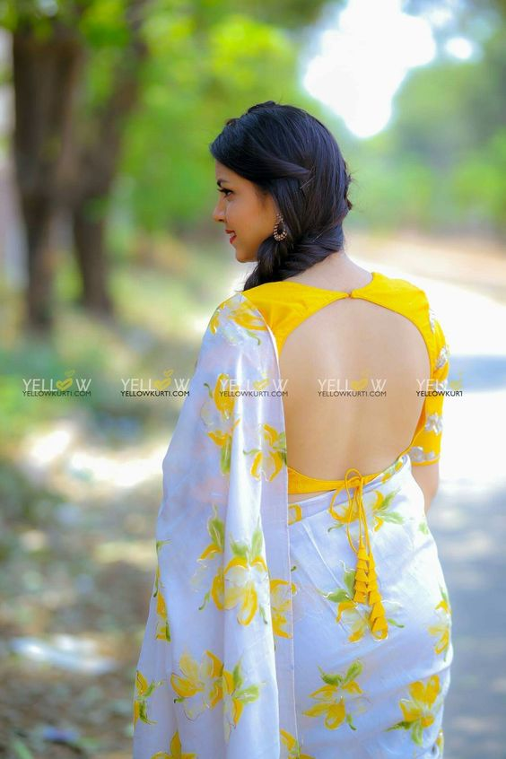 yellow and white combination saree blouse
