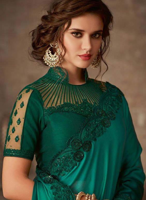 stylish green designer saree blouse