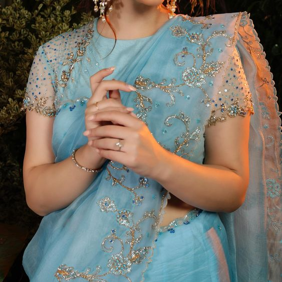 stylish blue designs sarees