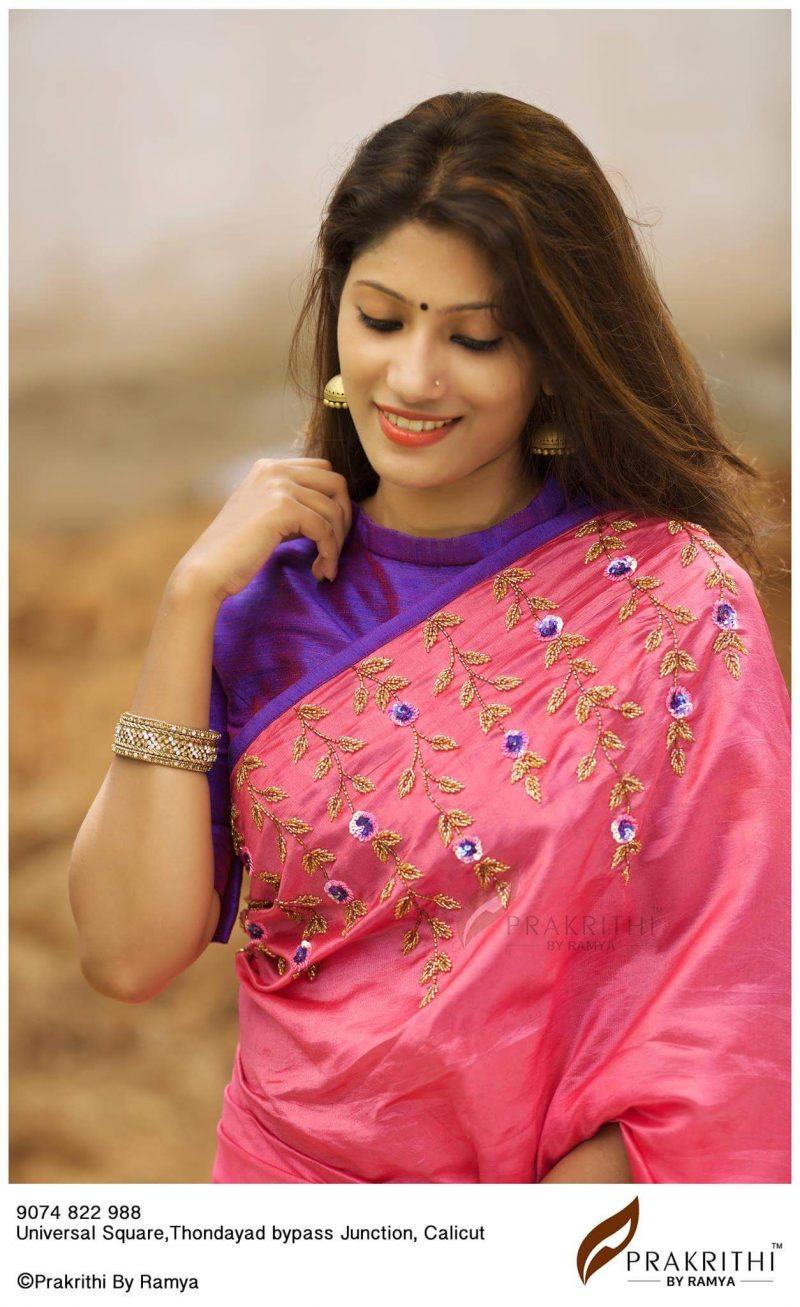violet high neck blouse design